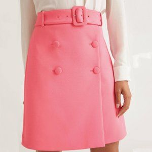 Boden Belted A-Line Skirt Pink Plus Size 16